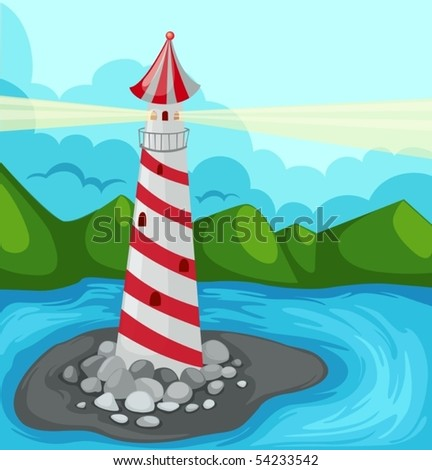 illustration of landscape lighthouse - stock vector