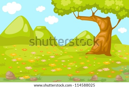 illustration of landscape meadow - stock vector