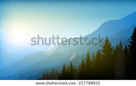 Illustration of landscape mountain background - stock vector