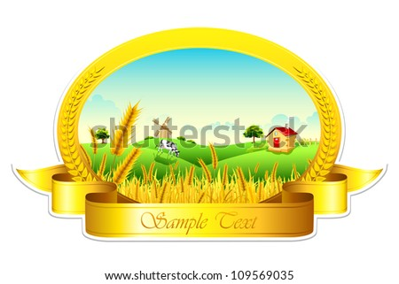 illustration of landscape of golden wheat farm showing green revolution - stock vector