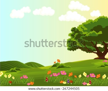 illustration of landscape of green meadow with colorful flowers  - stock vector
