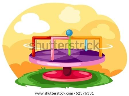 illustration of landscape playground merry-go-round - stock vector