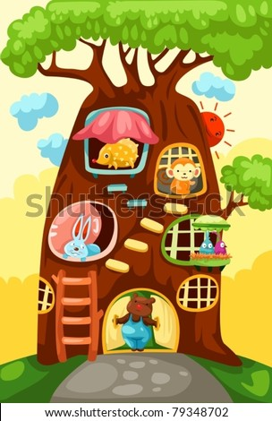 illustration of landscape tree house of animals - stock vector