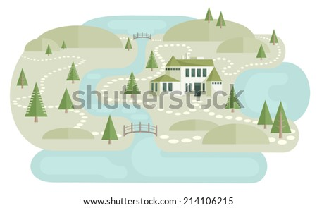 Illustration of landscape with house near river between pine trees. Big country house, abstract trees and bridges. Cute pathways between hills. Traveling theme. Map elements. Flat style. Vector EPS8. - stock vector