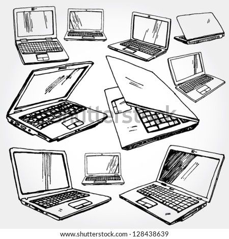 Illustration of Laptop Hand Drawn - stock vector