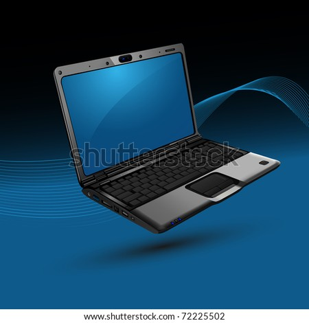 illustration of laptop on abstract vector background - stock vector