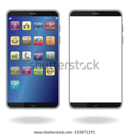 illustration of latest smart phone isolated in white background.