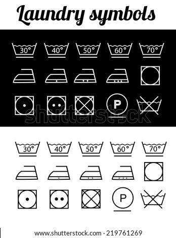 Illustration of laundry symbols, washing symbols - stock vector