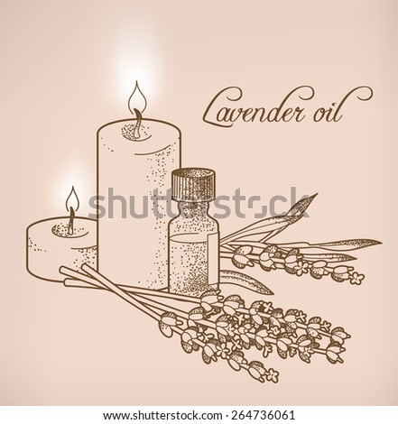 Illustration of lavender essential oil and candles - stock vector