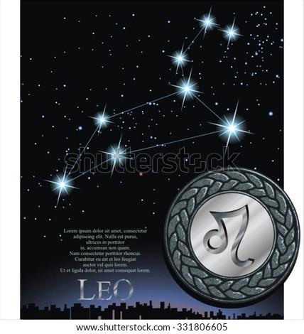 Illustration of leo zodiac sign. Lion zodiac poster. - stock vector
