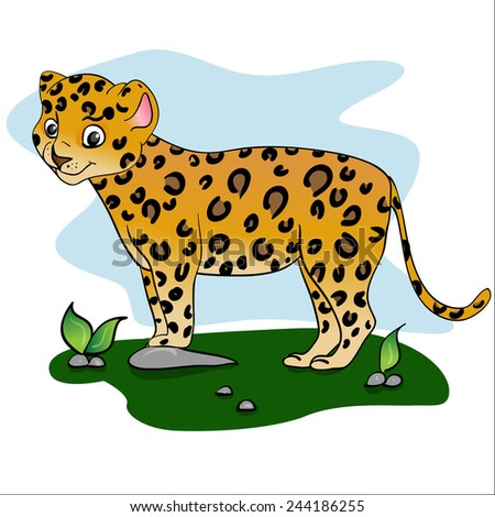 illustration of leopard. African animals - stock vector