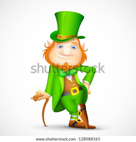 illustration of Leprechaun with walking stick for Saint Patrick's day - stock vector