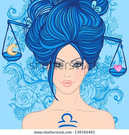 Illustration of libra zodiac sign as a beautiful girl. Vector illustration. - stock vector