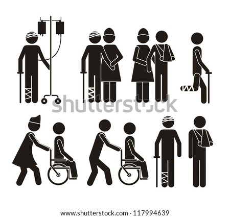 Illustration of Life icons, hospital signage, vector illustration