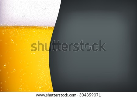 illustration of light beer with bubbles on dark grey background - stock vector