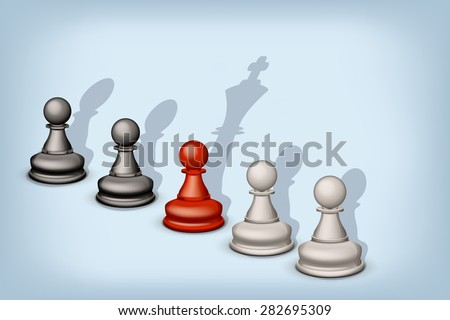 illustration of line of pawns with different types of shadow - stock vector