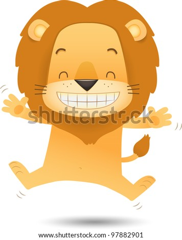 Illustration of Lino the Lion Jumping with happy face - stock vector