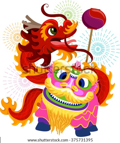 Illustration of Lion and Dragon Dance Costumes for Chinese New Year - stock vector