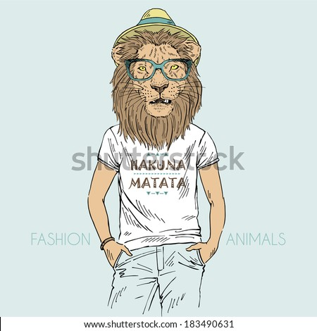 Illustration of lion dressed up in t-shirt with quote Hakuna Matata - stock vector