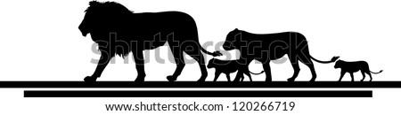 illustration of lion family trip - stock vector