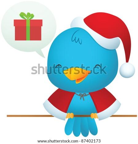 Illustration of Little Blue Bird wearing Santa uniform - stock vector