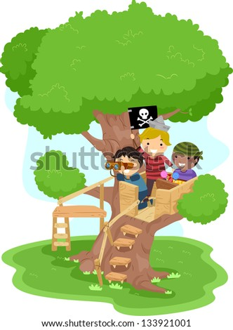 Illustration of Little Boys playing as Pirates on a Tree - stock vector