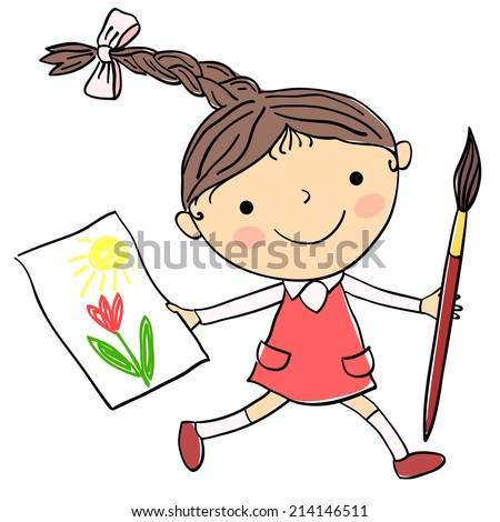 Illustration of little girl with child's drawing and big paintbrush on the white background - stock vector