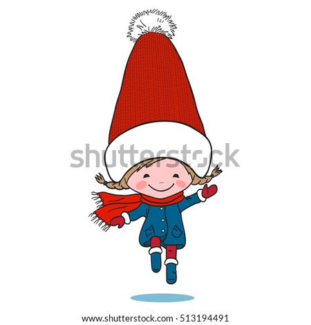 Illustration of little jumping girl in big winter knitted cap on white background