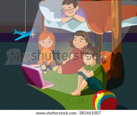 Illustration Of Little Kids Watching Cartoon In The Bedroom At Night