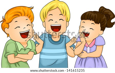 Illustration of Little Male and Female Kids Laughing Hard - stock vector