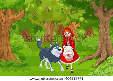 Illustration of little red hood with wolf