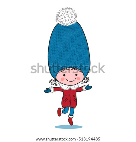 Illustration of little running girl in big winter knitted cap on white background