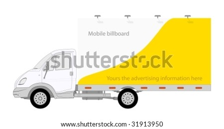 Illustration of LKW truck with mobile billboard - stock vector