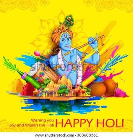 illustration of Lord Krishna playing flute in Happy Holi background - stock vector
