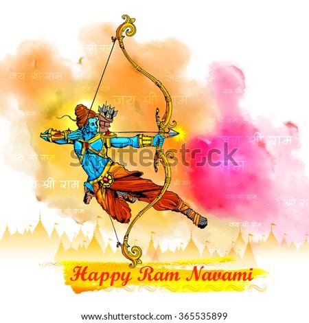 illustration of Lord Rama with bow arrow killing Ravana in Ram Navami - stock vector