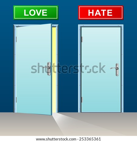 illustration of love and hate doors concept