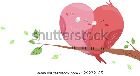Illustration of Love Birds perched on a branch of a Tree forming a Heart-like Shape - stock vector
