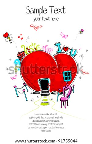 illustration of love concept in doodle style for valentine - stock vector