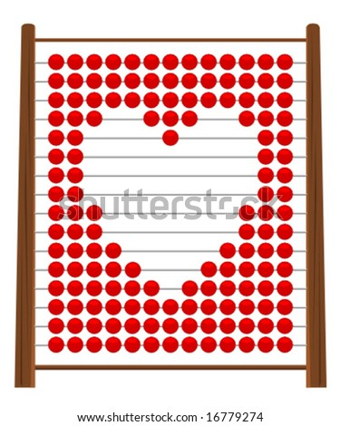 Illustration of love shape on abacus - stock vector