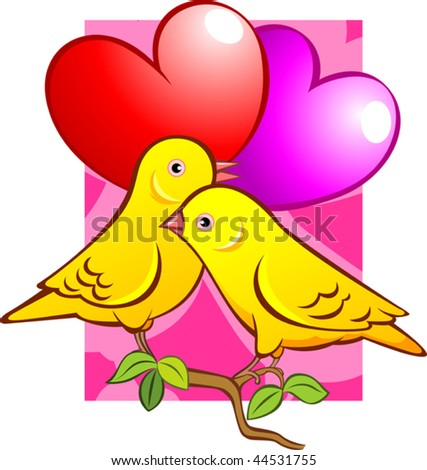 Illustration Love Symbols Two Birds Stock Vector 44531755 Shutterstock