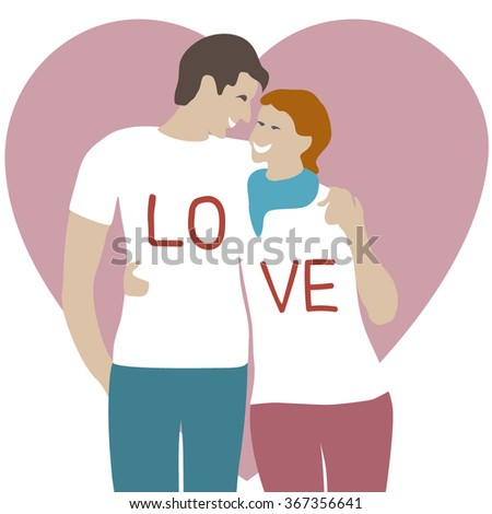 Illustration of lovers man and woman embracing on a heart background/T-shirt Graphics/Couple hugging each other vector illustration flat character/Romantic couple in love/ Love cards - stock vector