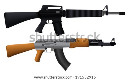 Illustration Of Machine Gun - stock vector