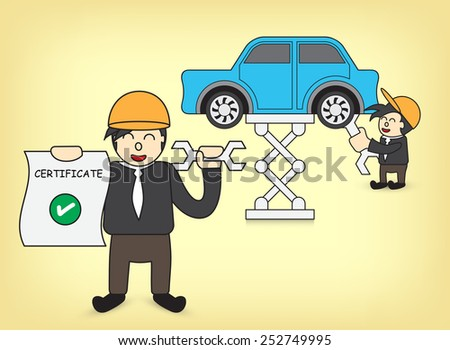 Illustration of machinist and car. - stock vector