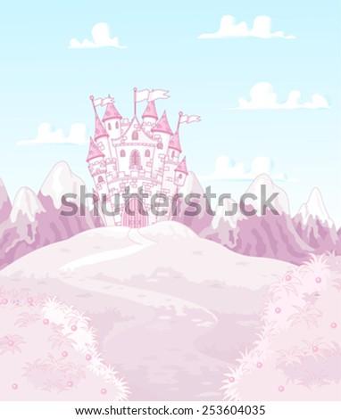 Illustration of magic princess castle  - stock vector