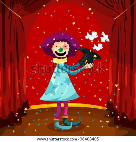 illustration of magician clown with bird - stock vector