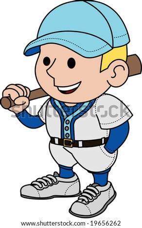 Illustration of male baseball player holding bat - stock vector