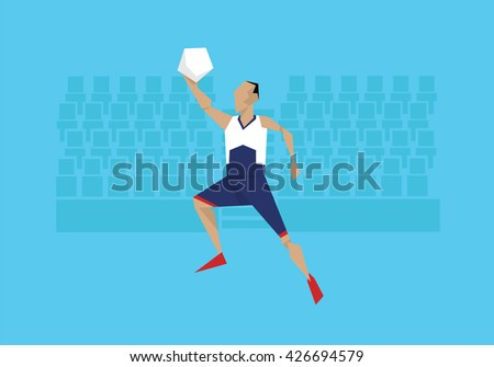 Illustration Of Male Basketball Player Competing In Event  - stock vector