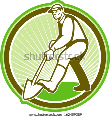 Illustration of male gardener landscaper horticulturist with shovel spade facing front digging done in retro style set inside circle. - stock vector