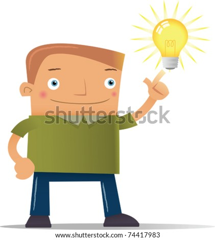 Illustration of man get an Idea - stock vector