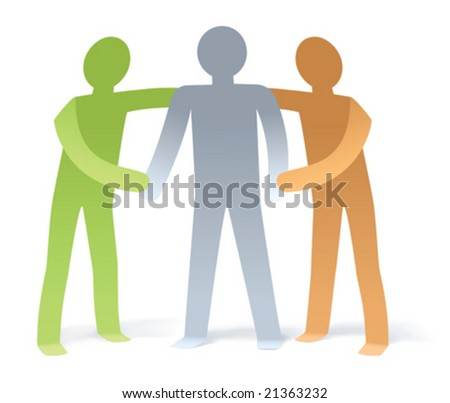 Illustration of 2 man give support to 1 man - stock vector